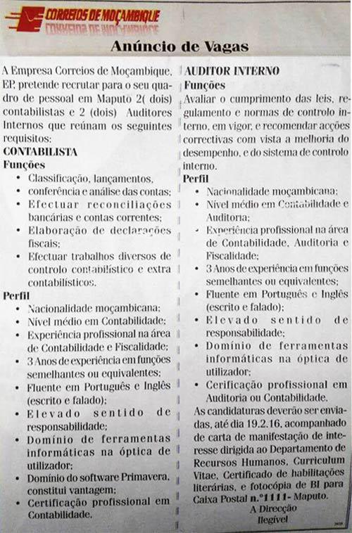 Anúncio de Emprego da empresa Correios de Moçambique