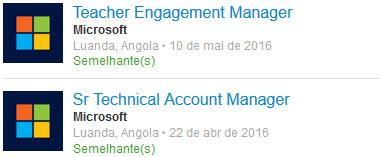 Oferta de emprego Microsoft